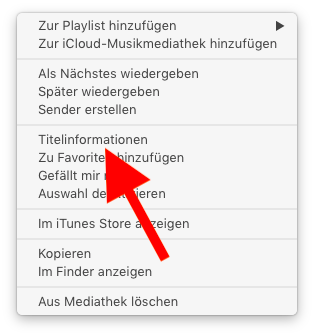 Klingelton und Textton für das Apple iPhone mit iTunes erstellen 02 Titelinfo aufrufen