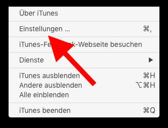Klingelton und Textton für das Apple iPhone mit iTunes erstellen 06 iTunes-Einstellungen aufrufen