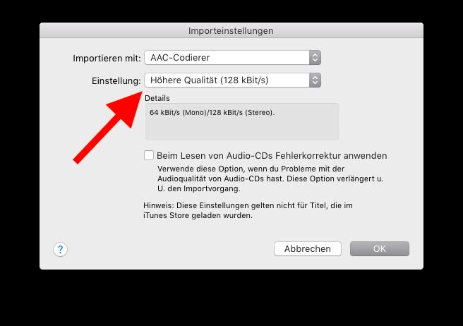 Klingelton und Textton für das Apple iPhone mit iTunes erstellen 08 Importeinstellungen vornehmen