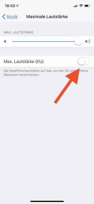 Maximale Lautstärke für Musik auf dem Apple iPhone und iPad begrenzen Maximale Lautstärke einstellen