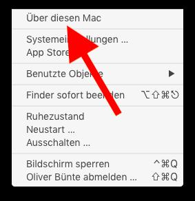 Modellbezeichnung, Modellnummer und Baujahr eines Mac oder MacBook ermitteln Über diesen Mac aufrufen