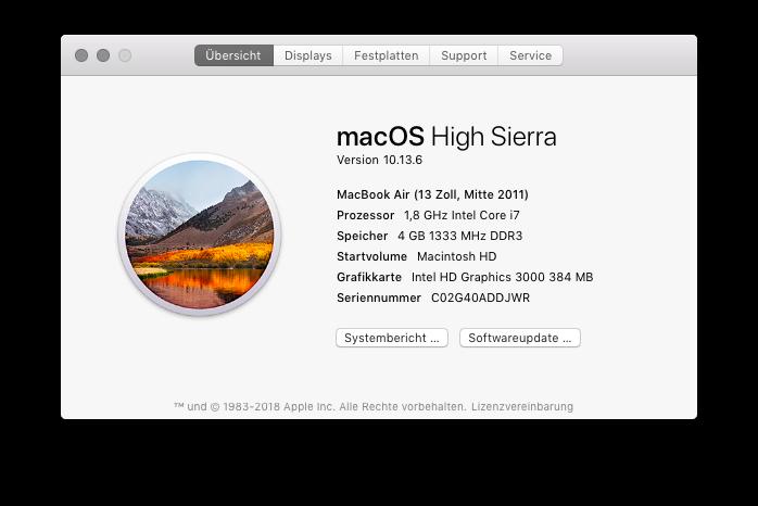 Modellbezeichnung, Modellnummer und Baujahr eines Mac oder MacBook ermitteln Übersicht