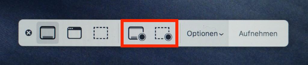 Screenshots und Bildschirmvideos unter macOS anfertigen Bildschirmvideo Schaltflächen