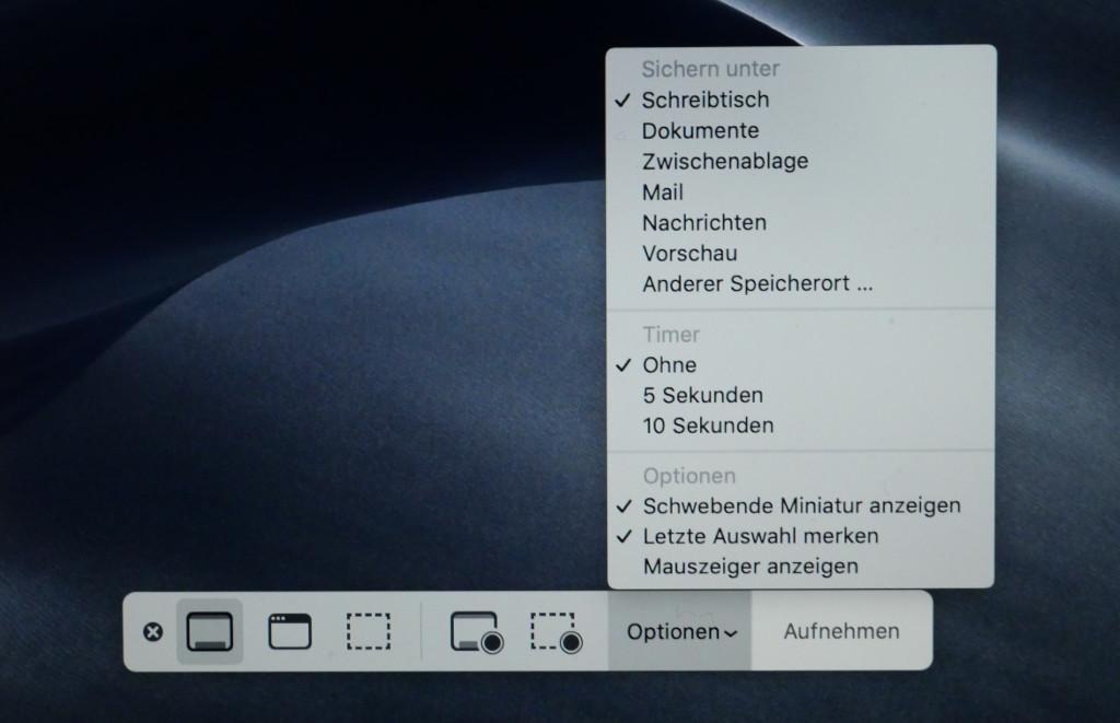 Screenshots und Bildschirmvideos unter macOS anfertigen Optionen
