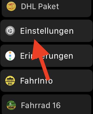 Klicken der digitalen Krone (Digital Crown) bei der Apple Watch abschalten Einstellungen Apple Watch aufrufen