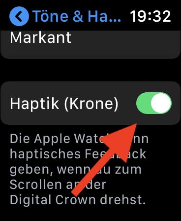 Klicken der digitalen Krone (Digital Crown) bei der Apple Watch abschalten Haptik Krone Apple Watch abschalten