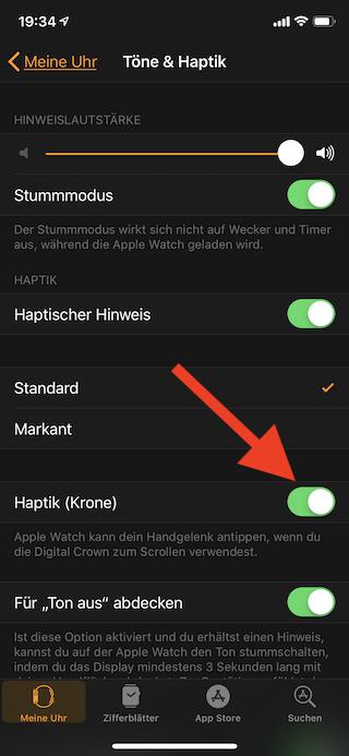 Klicken der digitalen Krone (Digital Crown) bei der Apple Watch abschalten Haptik Krone abschalten