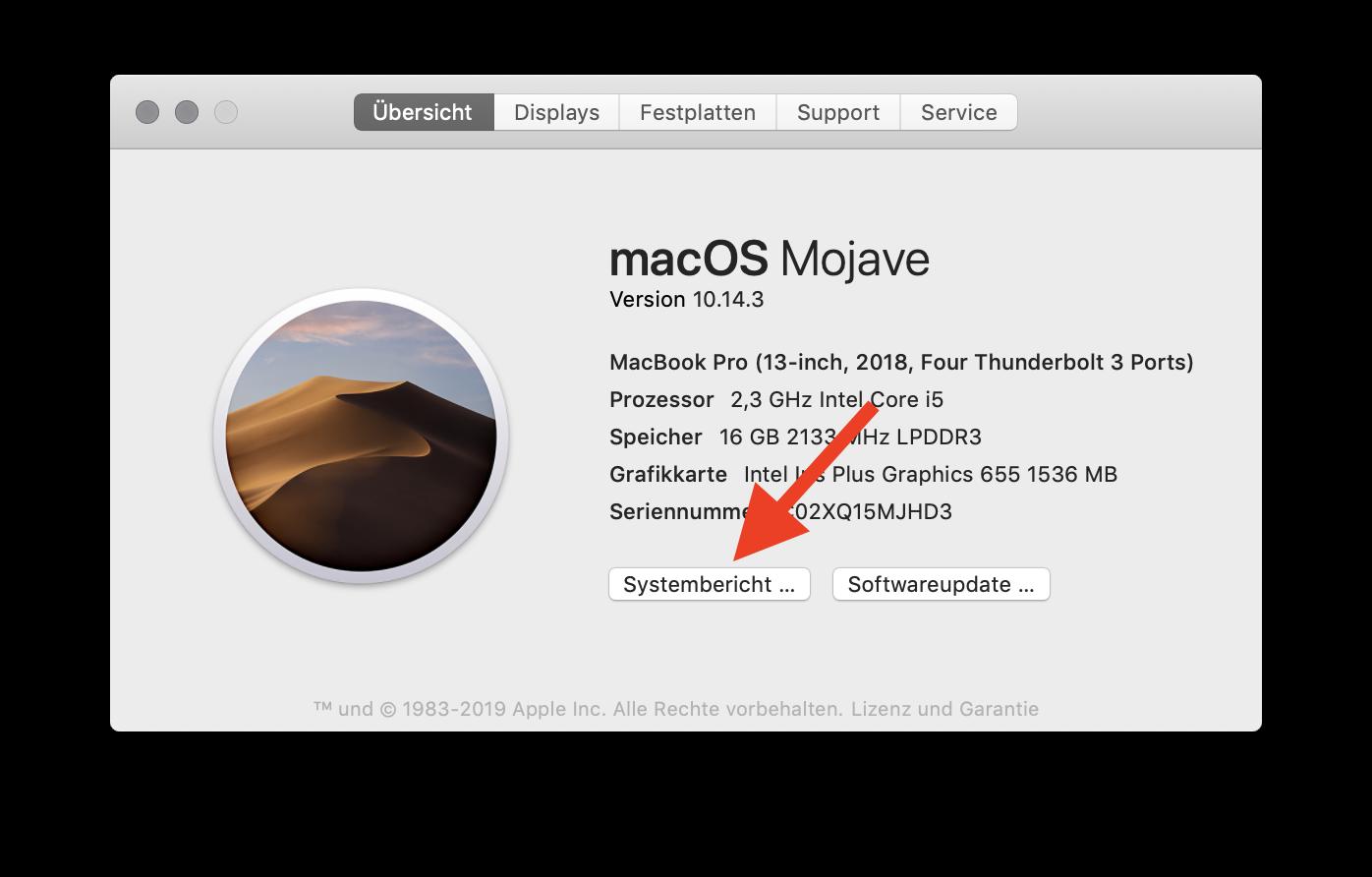 32-Bit-Apps unter macOS finden und aussortieren Systembericht auswählen