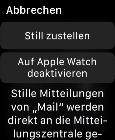 Mitteilungen auf der Apple Watch einstellen Apple Watch Mitteilungsoptionen