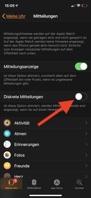 Mitteilungen auf der Apple Watch einstellen Diskrete Mitteilungen