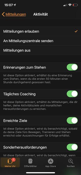Mitteilungen auf der Apple Watch einstellen Mitteilungen erlauben