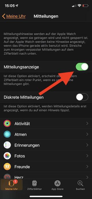 Mitteilungen auf der Apple Watch einstellen Mitteilungsanzeige
