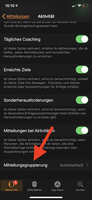 Mitteilungen auf der Apple Watch einstellen Mitteilungsgruppierung aufrufen