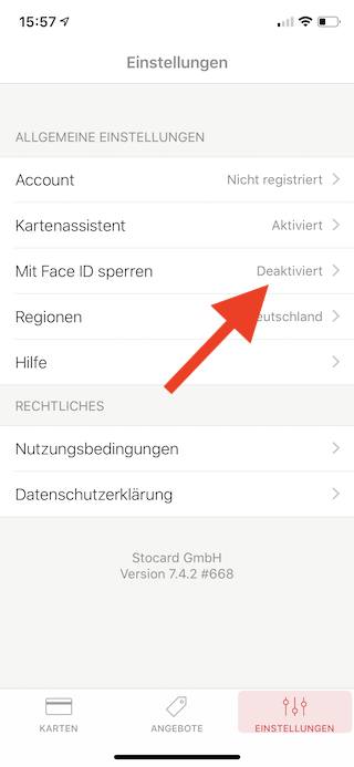 Stocard Digitale Kundenkarten auf dem Apple iPhone und der Apple Watch Mit Face ID sperren wählen