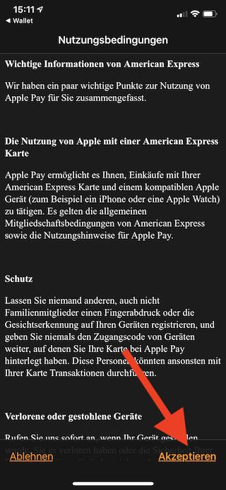 Apple Pay auf dem Apple iPhone und der Apple Watch einrichten und verwenden Apple Watch Wallet Nutzungsbedingungen akzeptieren
