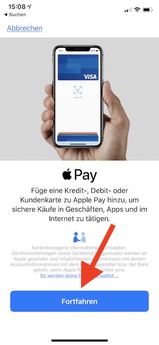 Apple Pay auf dem Apple iPhone und der Apple Watch einrichten und verwenden Apple iPhone Wallet Apple Pay Einrichtung fortfahren