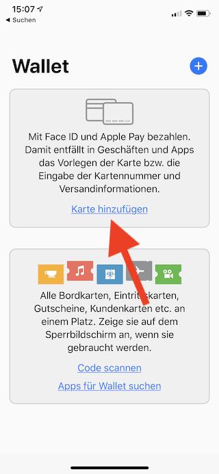 Apple Pay auf dem Apple iPhone und der Apple Watch einrichten und verwenden Apple iPhone Wallet Karte hinzufügen