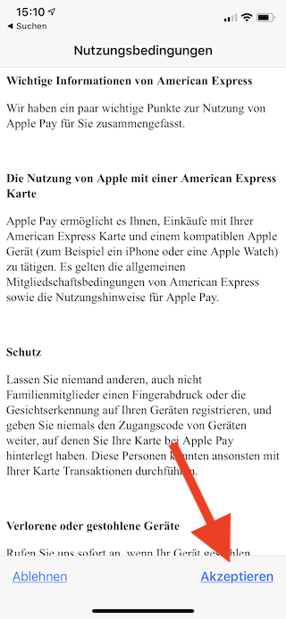 Apple Pay auf dem Apple iPhone und der Apple Watch einrichten und verwenden Apple iPhone Wallet Nutzungsbedingungen akzeptieren