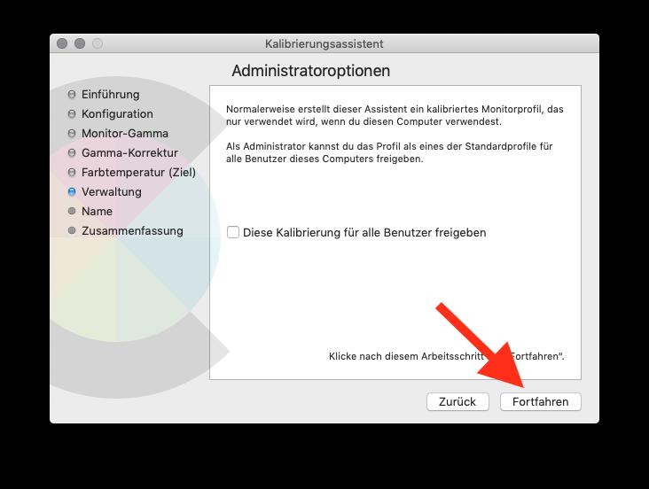 Externen Monitor am MacBook MacBook Air oder Pro ohne Farbkolorimeter kalibrieren Administratoroptionen