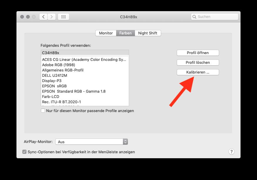 Externen Monitor am MacBook MacBook Air oder Pro ohne Farbkolorimeter kalibrieren Kalibrieren