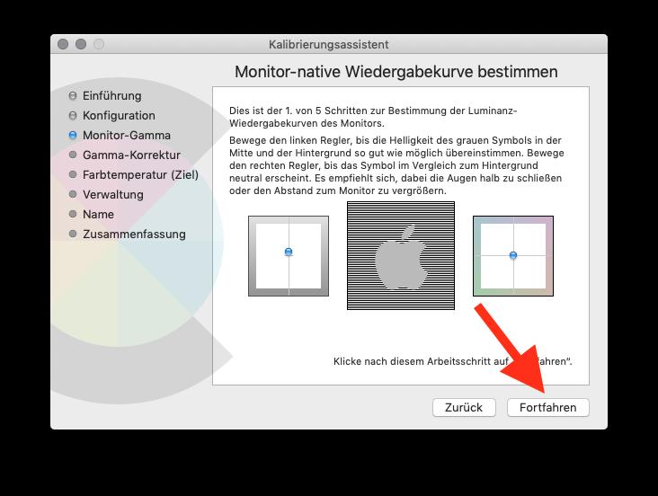 Externen Monitor am MacBook MacBook Air oder Pro ohne Farbkolorimeter kalibrieren Monitor-Gamma 1