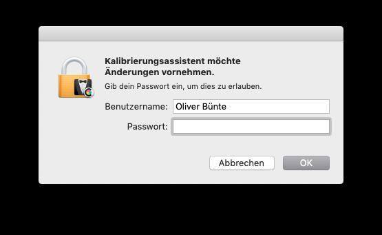 Externen Monitor am MacBook MacBook Air oder Pro ohne Farbkolorimeter kalibrieren Passwort eingeben