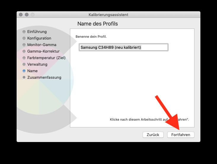 Externen Monitor am MacBook MacBook Air oder Pro ohne Farbkolorimeter kalibrieren Profilname eingeben