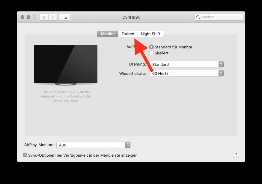 Externen Monitor am MacBook MacBook Air oder Pro ohne Farbkolorimeter kalibrieren Reiter Farben aufrufen
