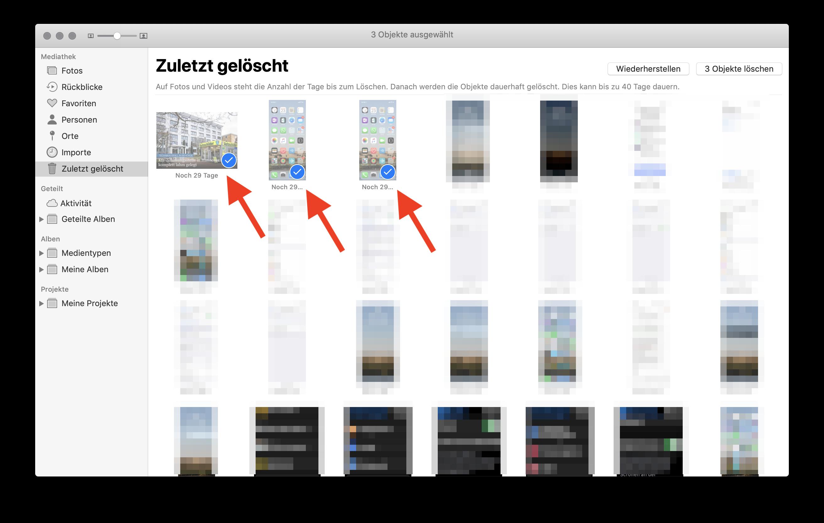 Fotos sofort und endgültig aus der iCloud (Fotostream) löschen Bereits gelöschte Fotos auswählen