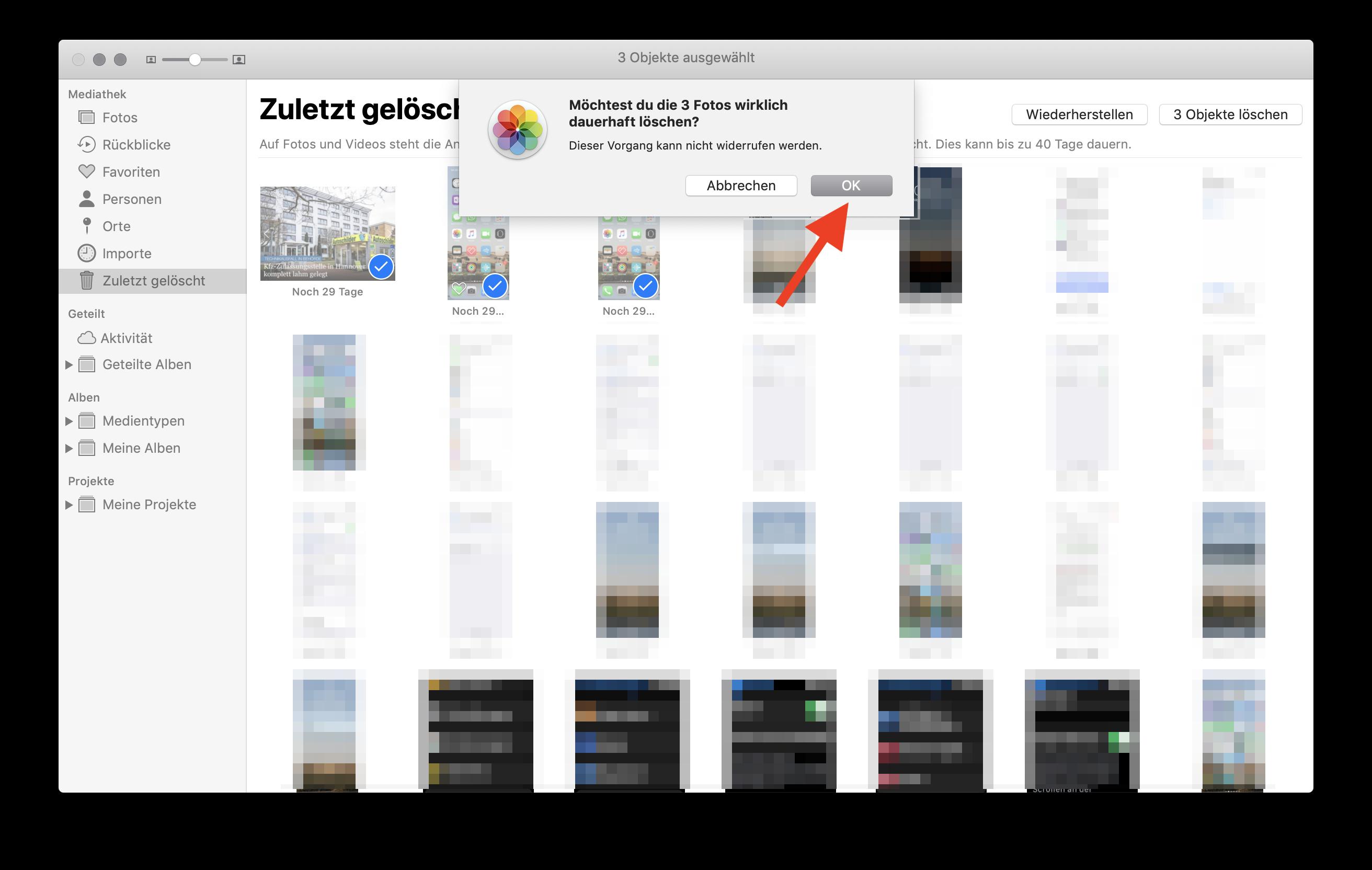 Fotos sofort und endgültig aus der iCloud (Fotostream) löschen Fotos endgültig löschen