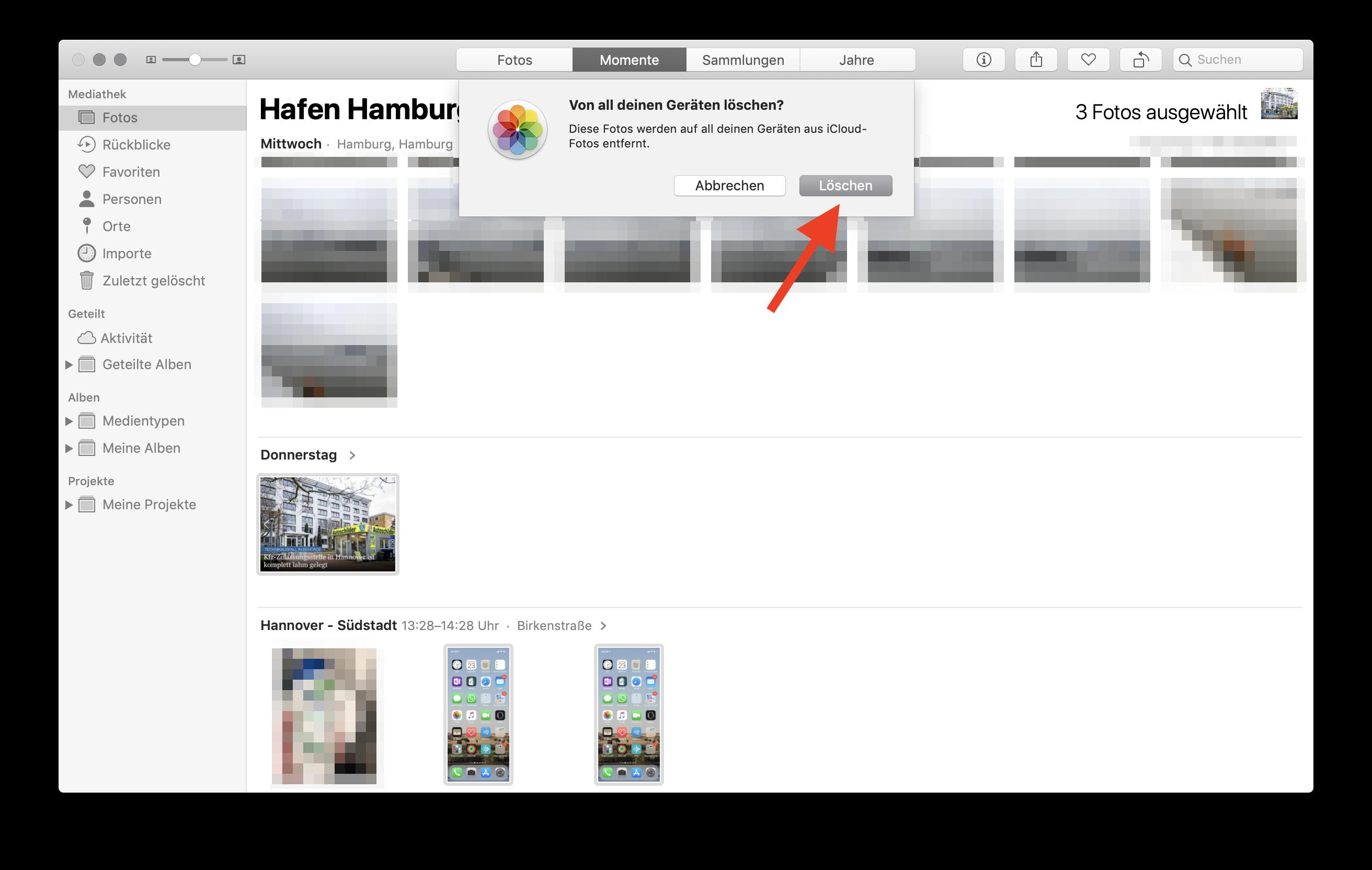 Fotos sofort und endgültig aus der iCloud (Fotostream) löschen Löschen drücken Löschen drücken