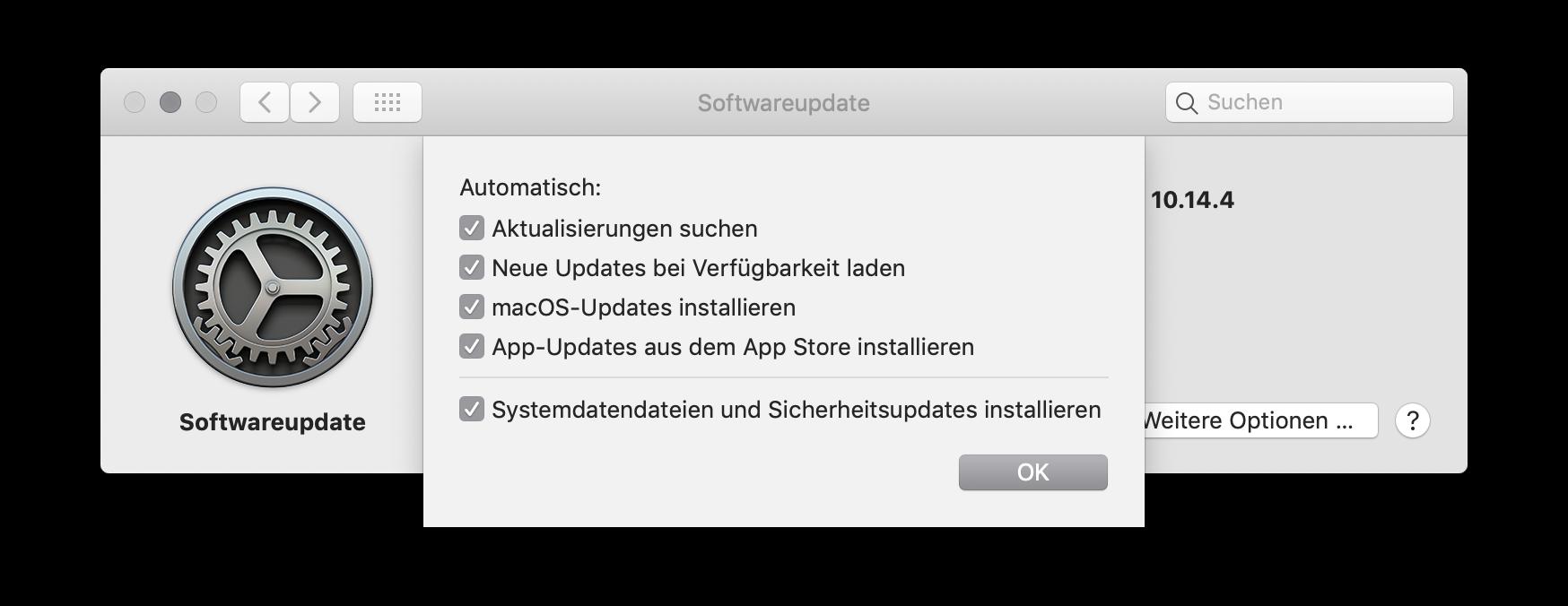 Updates für das System und Apps unter macOS einstellen Softwareinstellungen