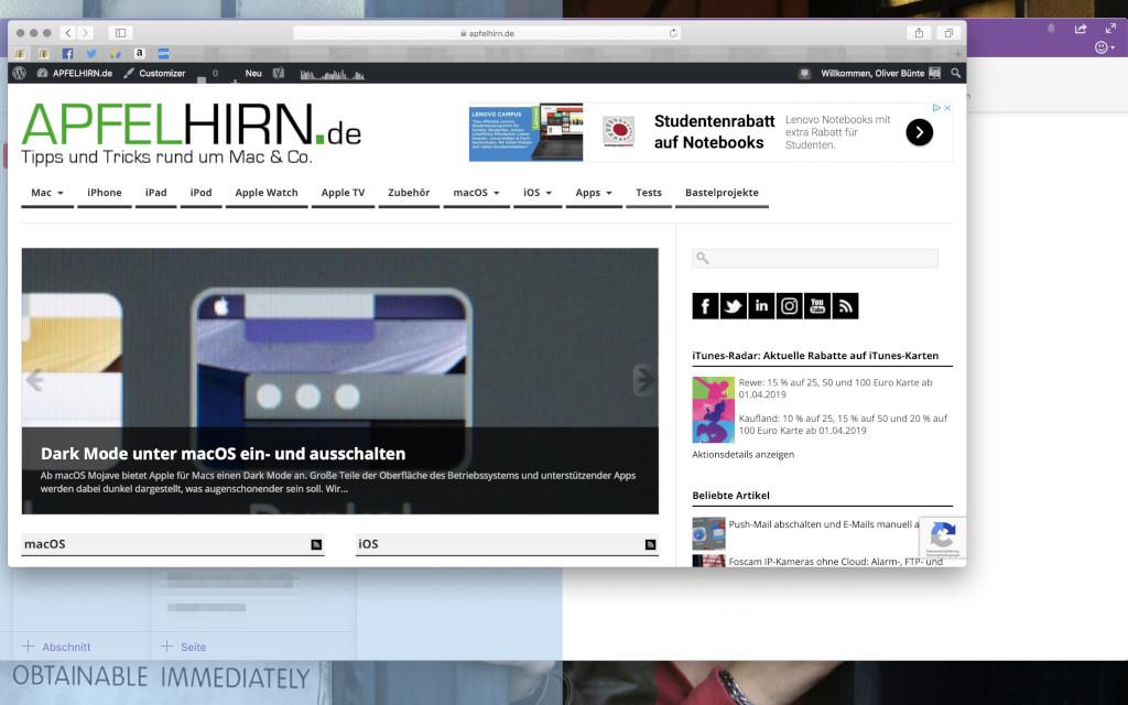 Split View Zwei Programmfenster nebeneinander unter macOS anzeigen Fenster in die gewünschte Hälfte verschieben