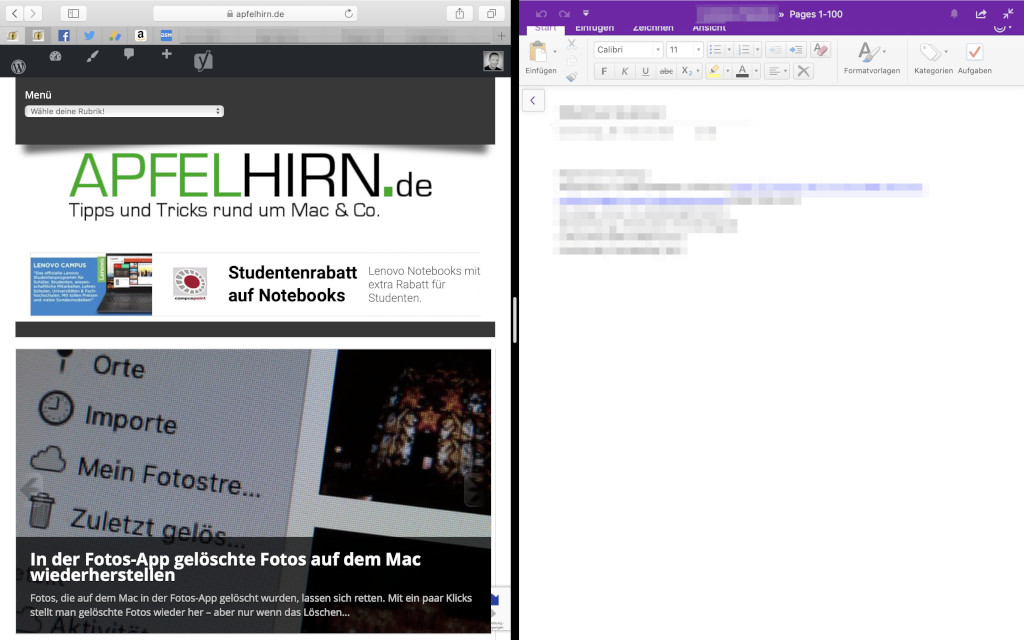 Split View Zwei Programmfenster nebeneinander unter macOS anzeigen
