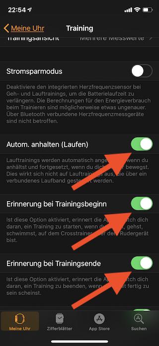 Aufzeichnung eines Lauftrainings bei Unterbrechung automatisch auf der Apple Watch anhalten Automatisch Anhalten Laufen einschalten