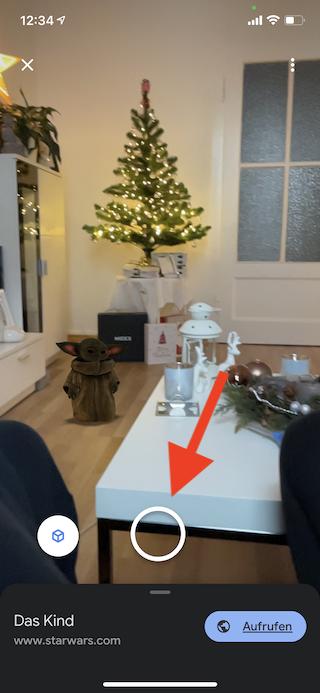 Grogu das Kind von The Mandalorian virtuell ins Wohnzimmer holen Foto aufnehmen