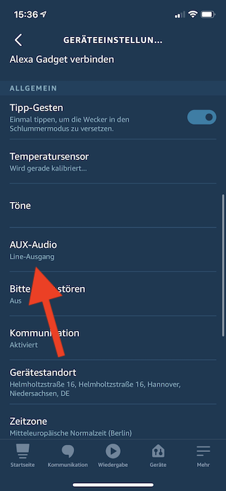 Amazon Echo Dot als Lautsprecher für Mac mini benutzen Aux-Audio wählen