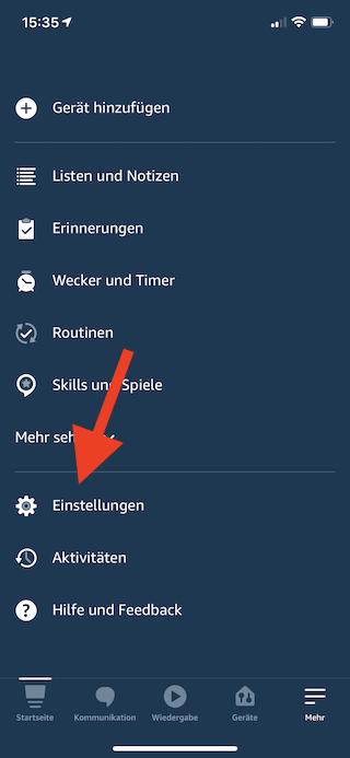 Amazon Echo Dot als Lautsprecher für Mac mini benutzen Einstellungen App öffnen