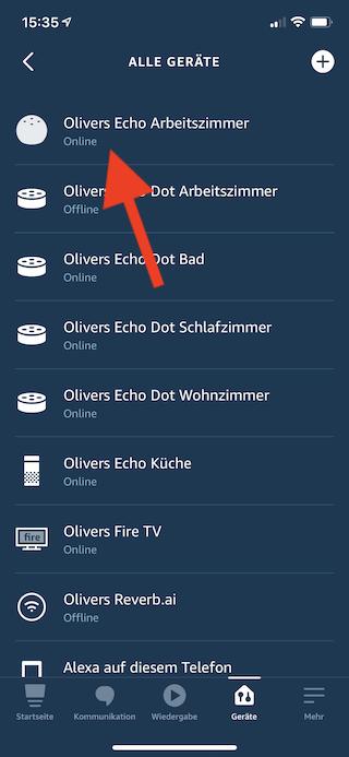 Amazon Echo Dot als Lautsprecher für Mac mini benutzen Gerät auswählen