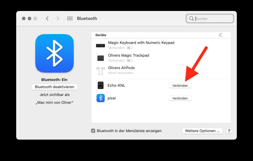 Amazon Echo Dot als Lautsprecher für Mac mini benutzen Mit Echo verbinden